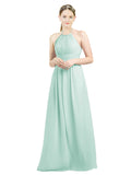 Mila Gowns Mia Long A-Line High Neck Halter Chiffon Mint Green Bridesmaid Dress Floor Length Open Back Sleeveless 174023