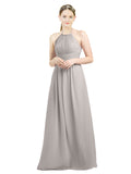 Mila Gowns Mia Long A-Line High Neck Halter Chiffon Oyster Silver Bridesmaid Dress Floor Length Open Back Sleeveless 174023
