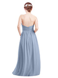 Mila Gowns Mia Long A-Line High Neck Halter Chiffon Periwinkle Bridesmaid Dress Floor Length Open Back Sleeveless 174023