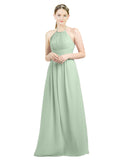 Mila Gowns Mia Long A-Line High Neck Halter Chiffon Sage Bridesmaid Dress Floor Length Open Back Sleeveless 174023