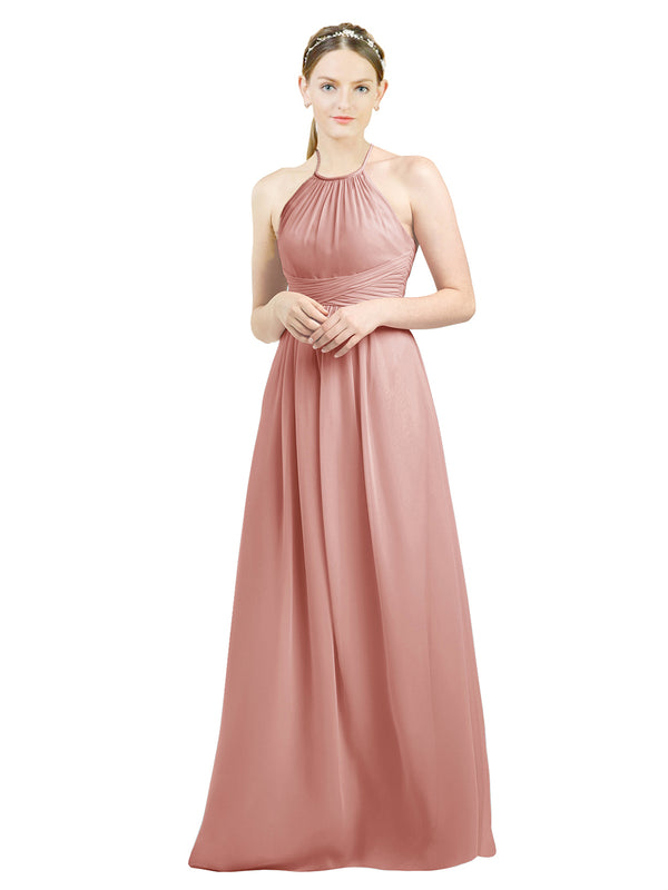 Mila Gowns Mia Long A-Line High Neck Halter Chiffon Salmon Bridesmaid Dress Floor Length Open Back Sleeveless 174023