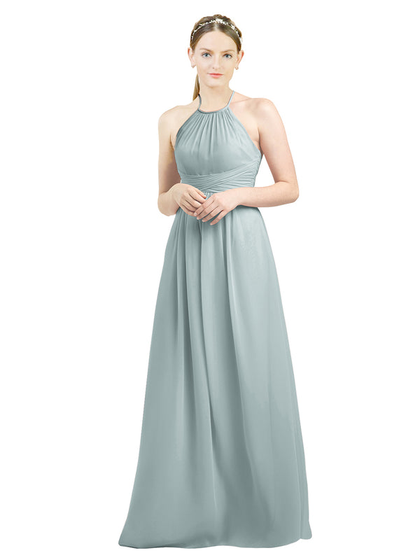 Mila Gowns Mia Long A-Line High Neck Halter Chiffon Seaside Bridesmaid Dress Floor Length Open Back Sleeveless 174023