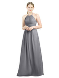 Mila Gowns Mia Long A-Line High Neck Halter Chiffon Slate Grey Bridesmaid Dress Floor Length Open Back Sleeveless 174023
