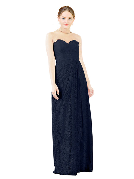 Mila Gowns Natalie Long A-Line Sweetheart Lace Dark Navy Bridesmaid Dress Floor Length Open Back Sleeveless 174051