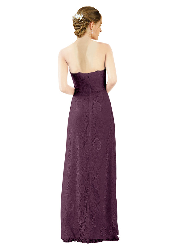 Mila Gowns Natalie Long A-Line Sweetheart Lace Grape Bridesmaid Dress Floor Length Open Back Sleeveless 174051