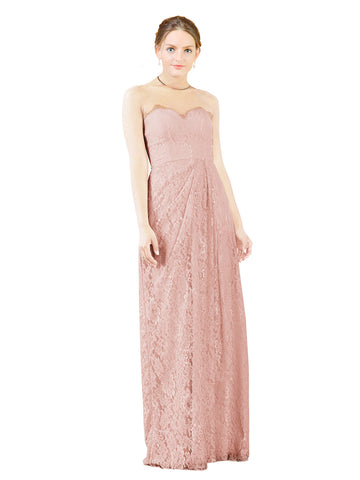 Mila Gowns Natalie Long A-Line Sweetheart Lace Pink Bridesmaid Dress Floor Length Open Back Sleeveless 174051