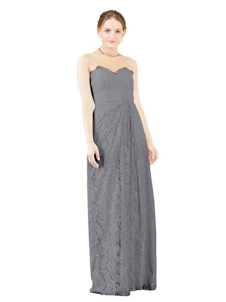 Mila Gowns Natalie Long A-Line Sweetheart Lace Slate Grey Bridesmaid Dress Floor Length Open Back Sleeveless 174051