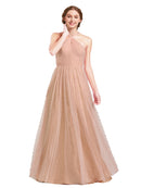 Mila Gowns Nora Long A-Line Halter Tulle Blush 84 Bridesmaid Dress Floor Length Sleeveless 174044
