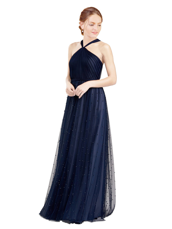 Mila Gowns Nora Long A-Line Halter Tulle Navy Blue 21 Bridesmaid Dress Floor Length Sleeveless 174044