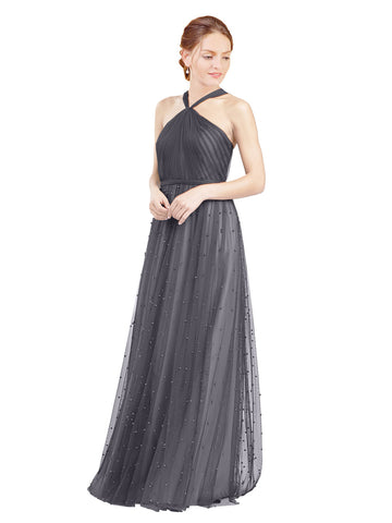 Mila Gowns Nora Long A-Line Halter Tulle Slate Grey 127 Bridesmaid Dress Floor Length Sleeveless 174044