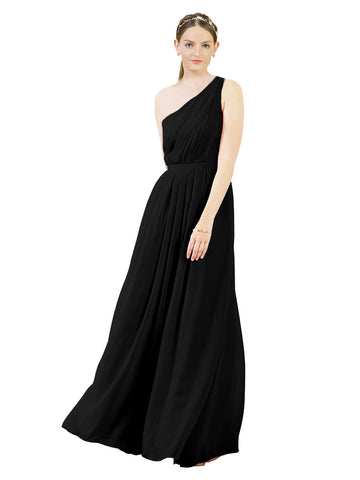 Mila Gowns Olivia Long A-Line One Shoulder Chiffon Black Bridesmaid Dress Floor Length Sleeveless 174019