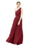 Mila Gowns Olivia Long A-Line One Shoulder Chiffon Burgundy Bridesmaid Dress Floor Length Sleeveless 174019