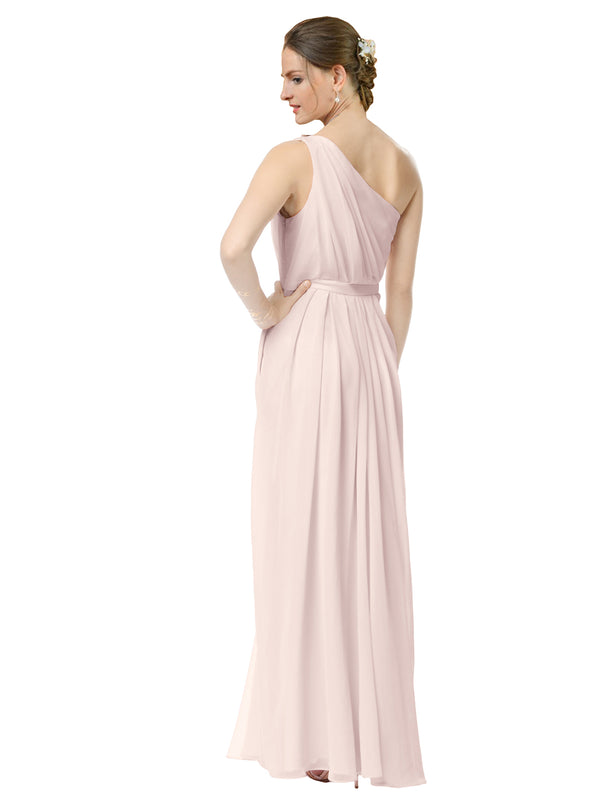 Mila Gowns Olivia Long A-Line One Shoulder Chiffon Champagne 42 Bridesmaid Dress Floor Length Sleeveless 174019