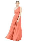 Mila Gowns Olivia Long A-Line One Shoulder Chiffon Coral Bridesmaid Dress Floor Length Sleeveless 174019