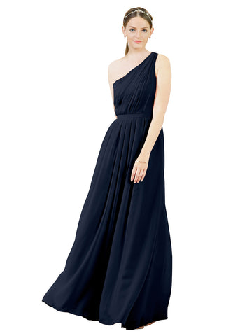 Mila Gowns Olivia Long A-Line One Shoulder Chiffon Dark Navy Bridesmaid Dress Floor Length Sleeveless 174019