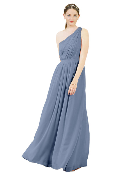 Mila Gowns Olivia Long A-Line One Shoulder Chiffon Dusty Blue Bridesmaid Dress Floor Length Sleeveless 174019