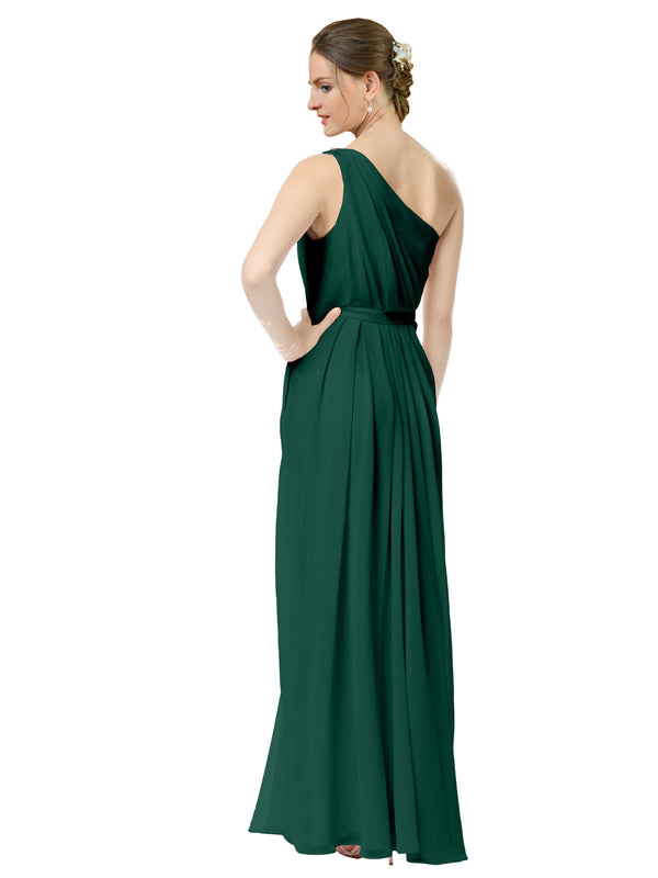 Mila Gowns Olivia Long A-Line One Shoulder Chiffon Ever Green Bridesmaid Dress Floor Length Sleeveless 174019