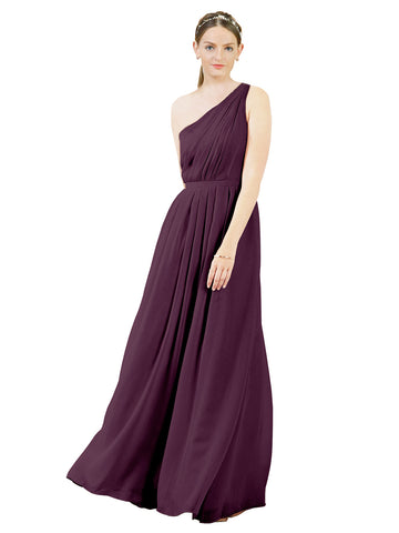 Mila Gowns Olivia Long A-Line One Shoulder Chiffon Grape Bridesmaid Dress Floor Length Sleeveless 174019