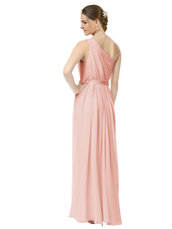 Mila Gowns Olivia Long A-Line One Shoulder Chiffon Ice Pink Bridesmaid Dress Floor Length Sleeveless 174019