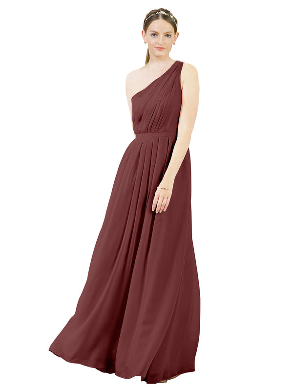 Mila Gowns Olivia Long A-Line One Shoulder Chiffon Marsala Bridesmaid Dress Floor Length Sleeveless 174019