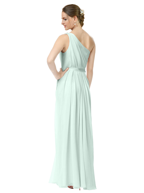 Mila Gowns Olivia Long A-Line One Shoulder Chiffon Mint Green Bridesmaid Dress Floor Length Sleeveless 174019