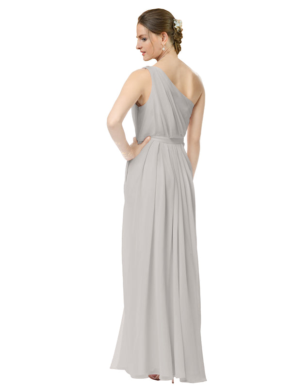 Mila Gowns Olivia Long A-Line One Shoulder Chiffon Oyster Silver Bridesmaid Dress Floor Length Sleeveless 174019