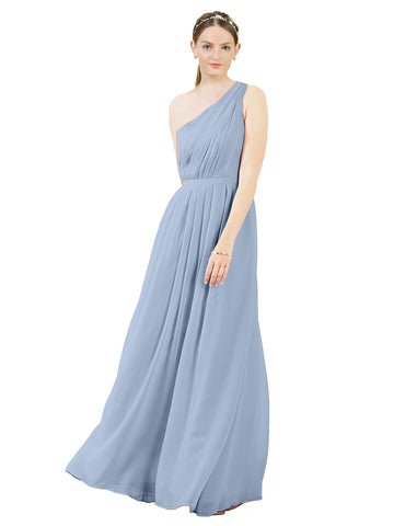 Mila Gowns Olivia Long A-Line One Shoulder Chiffon Periwinkle Bridesmaid Dress Floor Length Sleeveless 174019
