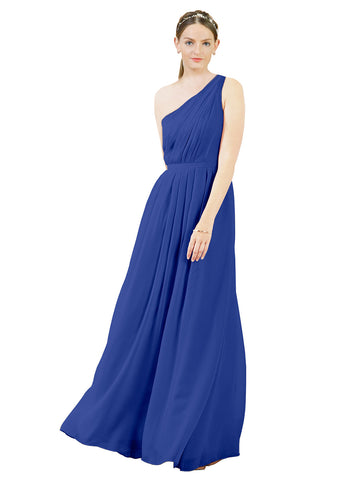 Mila Gowns Olivia Long A-Line One Shoulder Chiffon Royal Blue Bridesmaid Dress Floor Length Sleeveless 174019