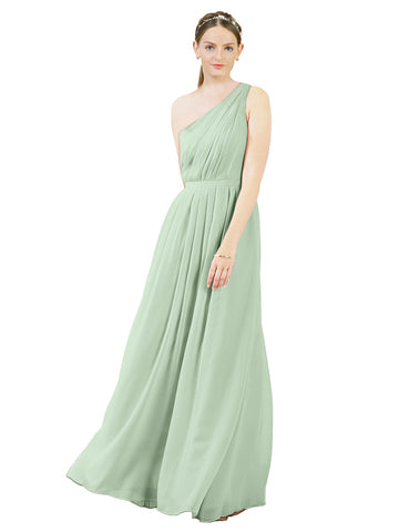 Mila Gowns Olivia Long A-Line One Shoulder Chiffon Sage Bridesmaid Dress Floor Length Sleeveless 174019