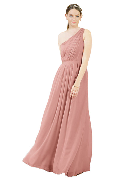 Mila Gowns Olivia Long A-Line One Shoulder Chiffon Salmon Bridesmaid Dress Floor Length Sleeveless 174019