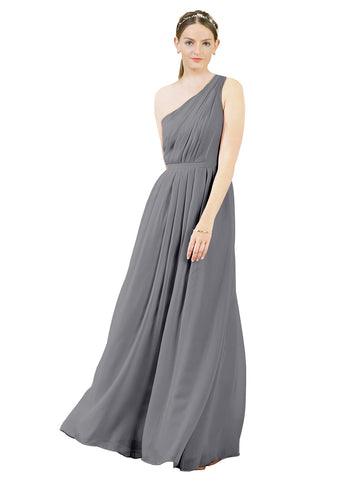 Mila Gowns Olivia Long A-Line One Shoulder Chiffon Slate Grey Bridesmaid Dress Floor Length Sleeveless 174019