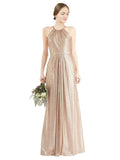 Mila Gowns Penelope Long Sheath High Neck Halter Sequin Gold Bridesmaid Dress Floor Length Sleeveless 174040