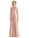Mila Gowns Penelope Long Sheath High Neck Halter Sequin Rose Gold Bridesmaid Dress Floor Length Sleeveless 174040