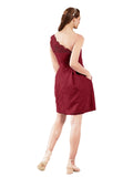 Mila Gowns Savannah Short A-Line Illusion Neckline One Shoulder Lace Burgundy Bridesmaid Dress Knee Length Sleeveless 174053