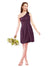 Mila Gowns Savannah Short A-Line Illusion Neckline One Shoulder Lace Grape Bridesmaid Dress Knee Length Sleeveless 174053