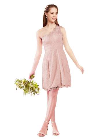 Mila Gowns Savannah Short A-Line Illusion Neckline One Shoulder Lace Pink Bridesmaid Dress Knee Length Sleeveless 174053
