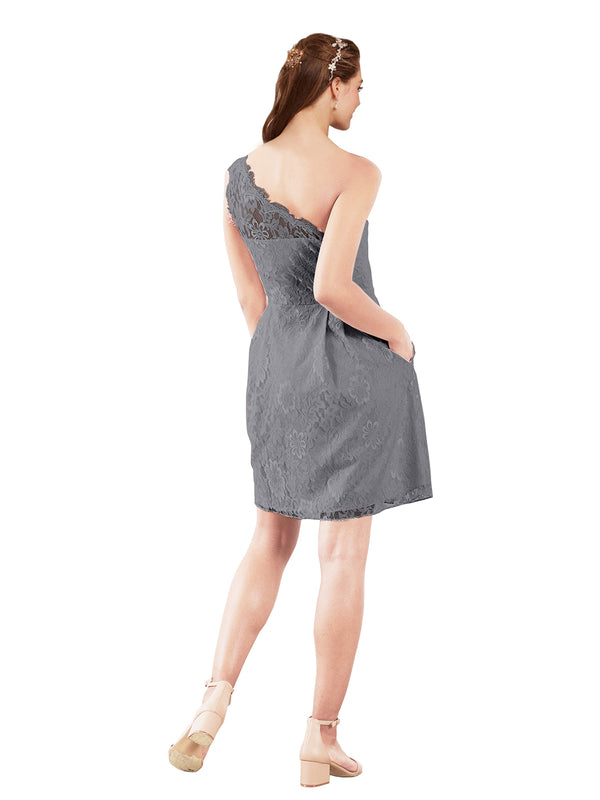 Mila Gowns Savannah Short A-Line Illusion Neckline One Shoulder Lace Slate Grey Bridesmaid Dress Knee Length Sleeveless 174053
