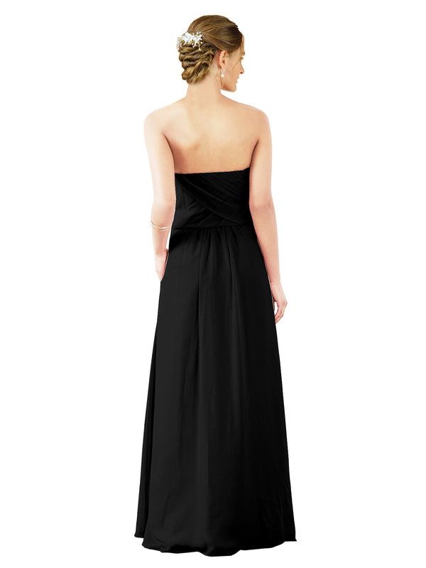 Mila Gowns Sophia Long A-Line Strapless Sweetheart Chiffon Black Bridesmaid Dress Floor Length Sleeveless 174022