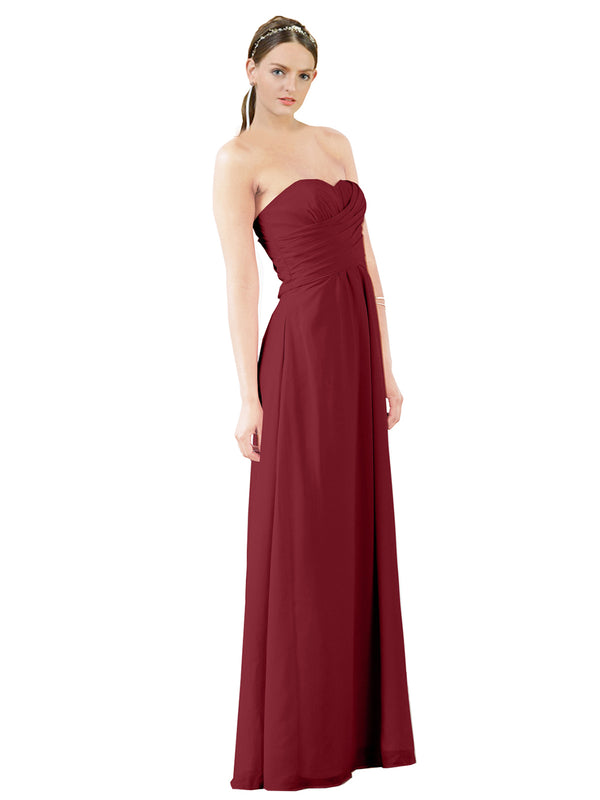 Mila Gowns Sophia Long A-Line Strapless Sweetheart Chiffon Burgundy Bridesmaid Dress Floor Length Sleeveless 174022