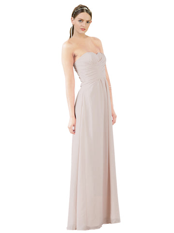Mila Gowns Sophia Long A-Line Strapless Sweetheart Chiffon Champagne 42 Bridesmaid Dress Floor Length Sleeveless 174022