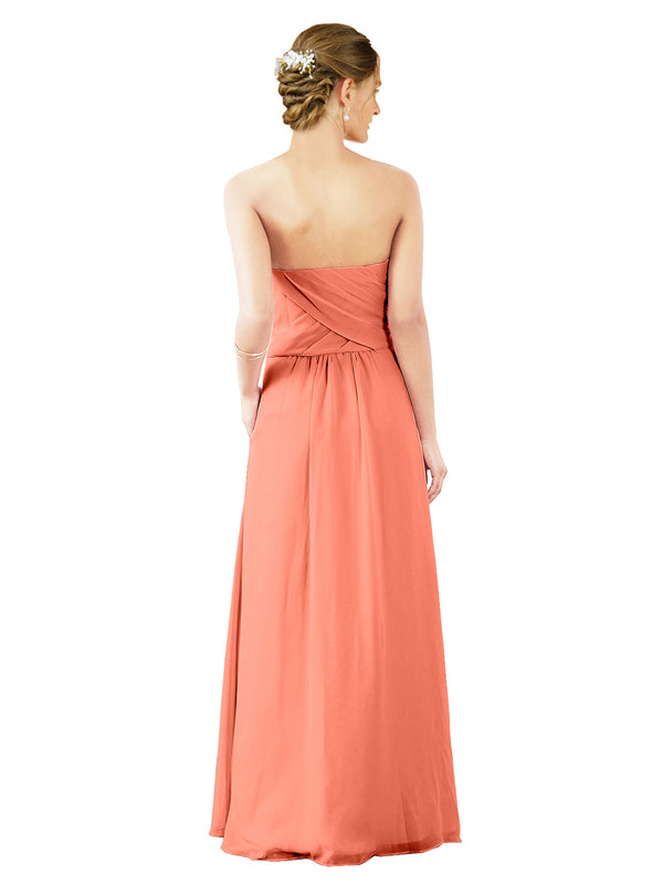 Mila Gowns Sophia Long A-Line Strapless Sweetheart Chiffon Coral Bridesmaid Dress Floor Length Sleeveless 174022
