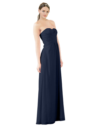 Mila Gowns Sophia Long A-Line Strapless Sweetheart Chiffon Dark Navy Bridesmaid Dress Floor Length Sleeveless 174022