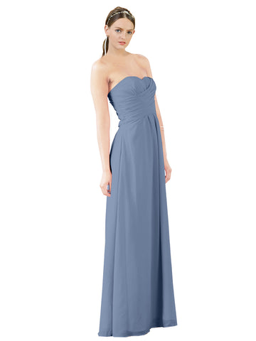 Mila Gowns Sophia Long A-Line Strapless Sweetheart Chiffon Dusty Blue Bridesmaid Dress Floor Length Sleeveless 174022