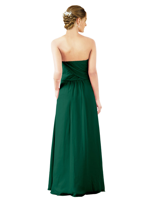 Mila Gowns Sophia Long A-Line Strapless Sweetheart Chiffon Ever Green Bridesmaid Dress Floor Length Sleeveless 174022