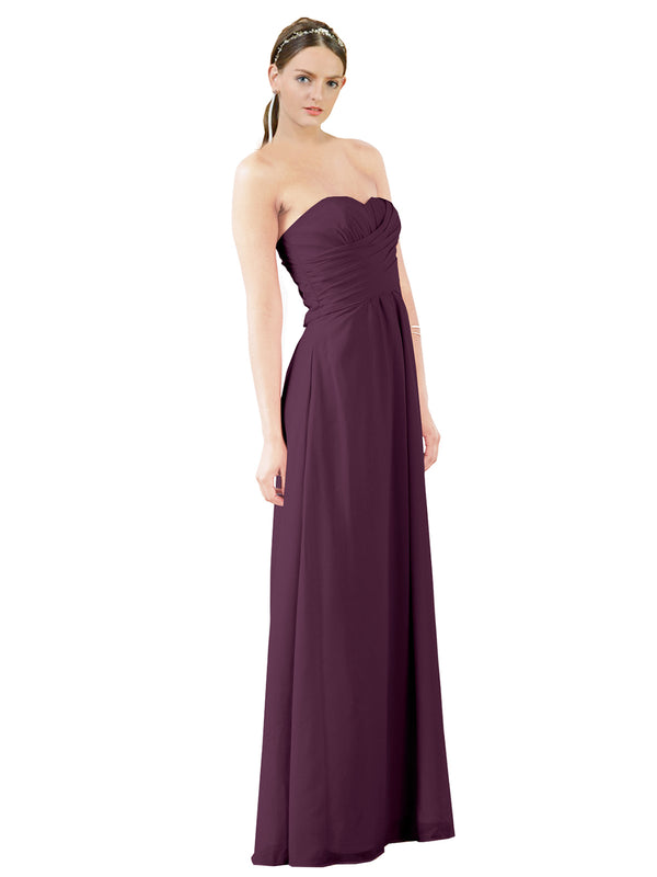 Mila Gowns Sophia Long A-Line Strapless Sweetheart Chiffon Grape Bridesmaid Dress Floor Length Sleeveless 174022