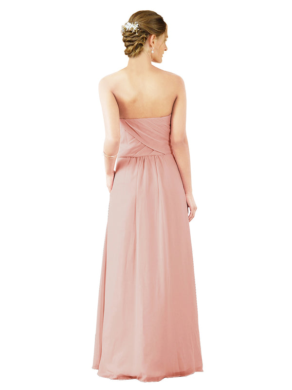Mila Gowns Sophia Long A-Line Strapless Sweetheart Chiffon Ice Pink Bridesmaid Dress Floor Length Sleeveless 174022
