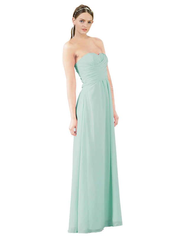 Mila Gowns Sophia Long A-Line Strapless Sweetheart Chiffon Mint Green Bridesmaid Dress Floor Length Sleeveless 174022