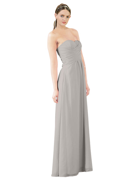 Mila Gowns Sophia Long A-Line Strapless Sweetheart Chiffon Oyster Silver Bridesmaid Dress Floor Length Sleeveless 174022
