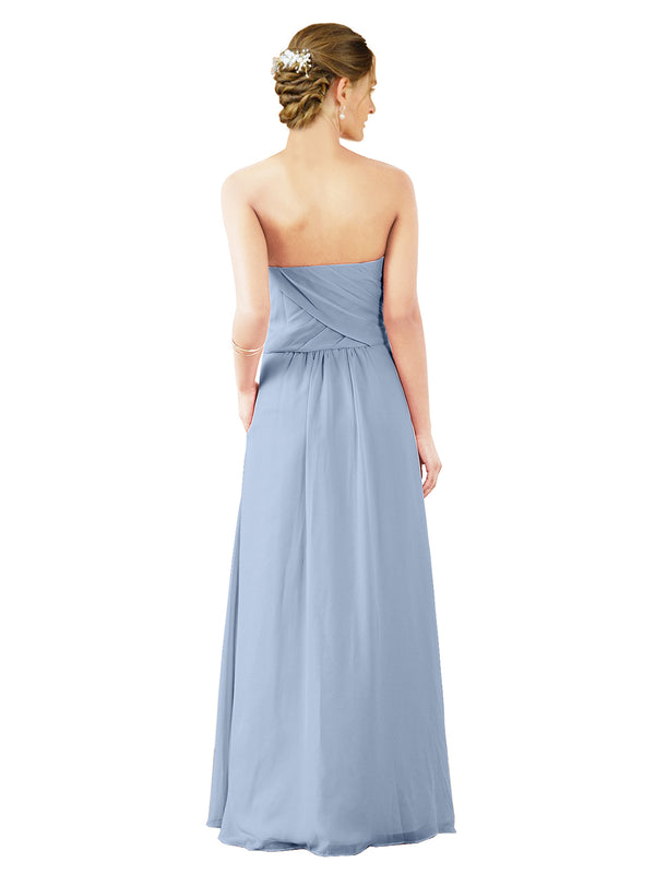Mila Gowns Sophia Long A-Line Strapless Sweetheart Chiffon Periwinkle Bridesmaid Dress Floor Length Sleeveless 174022