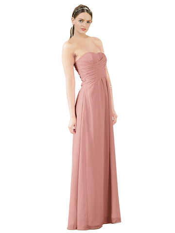 Mila Gowns Sophia Long A-Line Strapless Sweetheart Chiffon Salmon Bridesmaid Dress Floor Length Sleeveless 174022